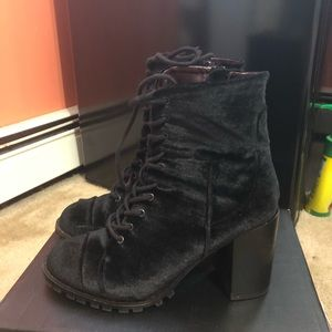 Shoes - Lace-Up Velvet Heeled Boots